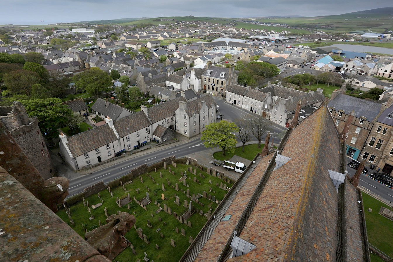 The view of Kirkwall from the base of the spire