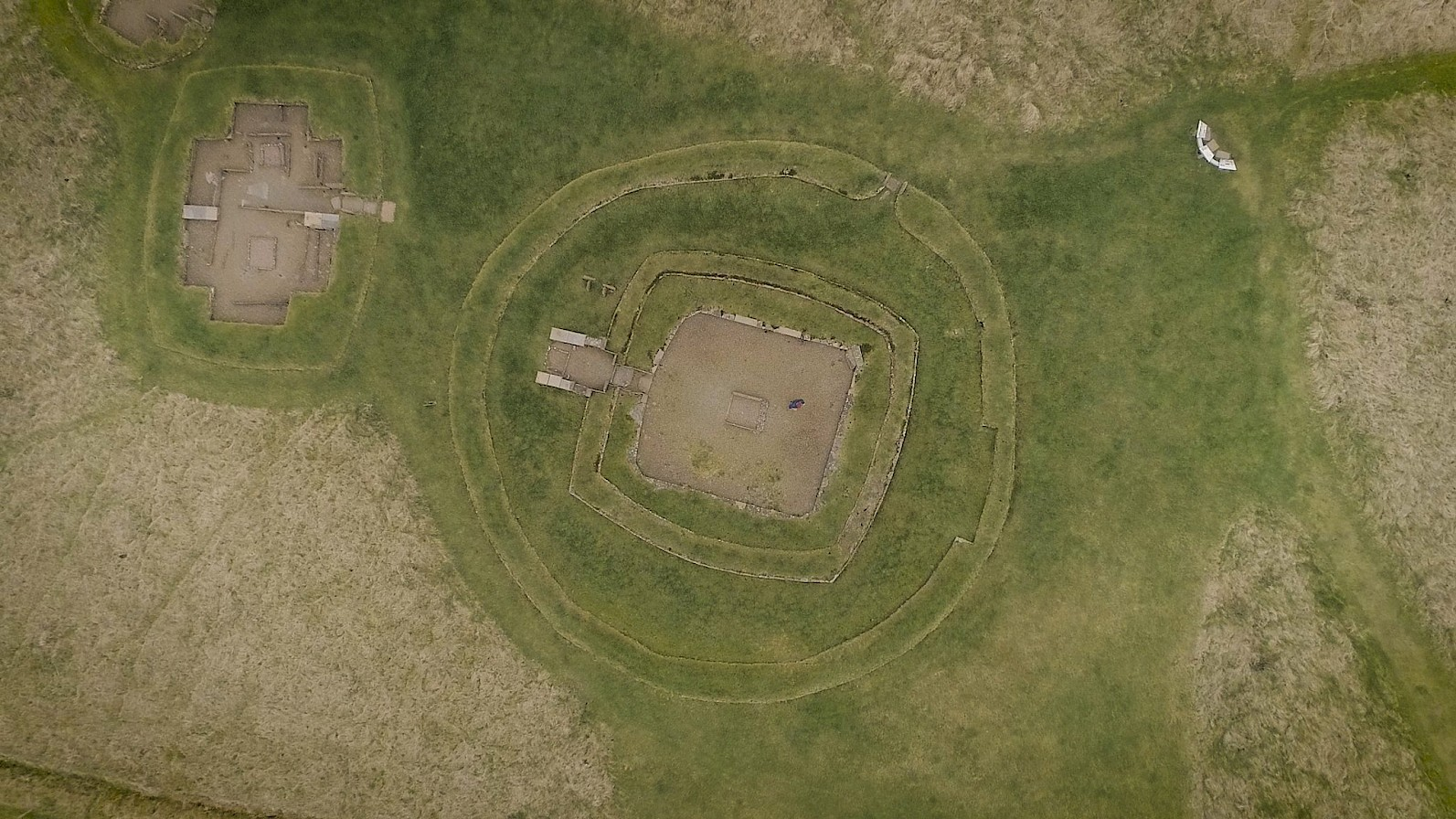 Aerial view of Barnhouse village, Orkney