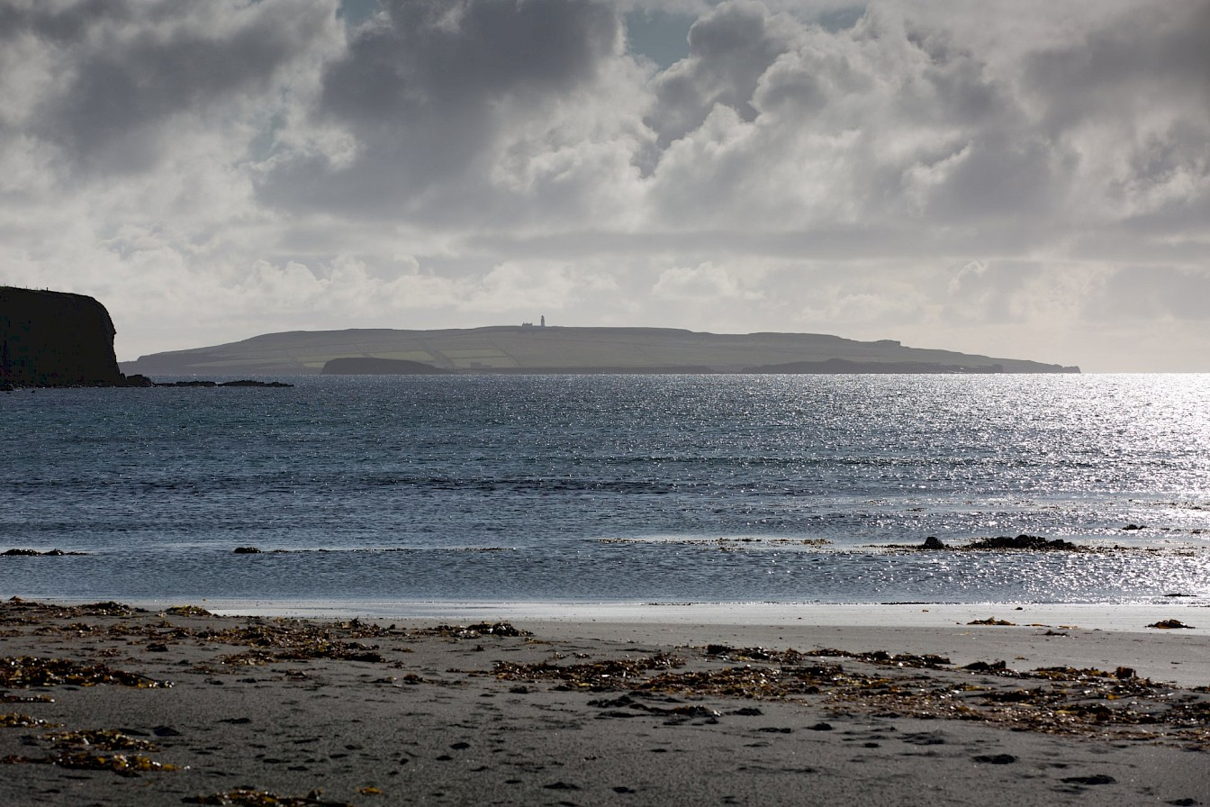 View towards Copinsay from Dingieshowe, Orkney