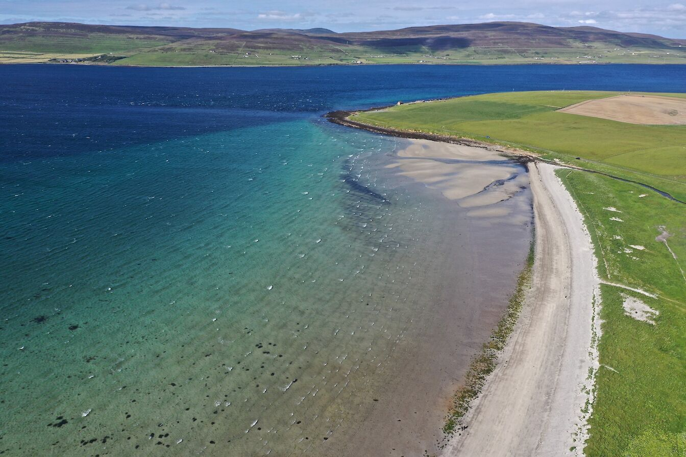 Aerial view of Sands of Evie, Orkney - image by Colin Keldie