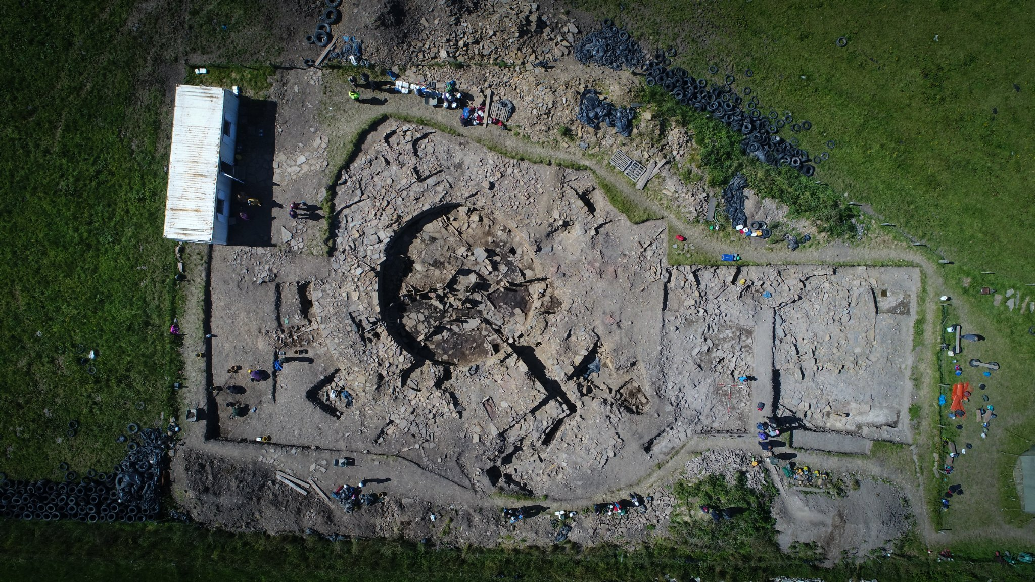 Aerial view of excavations at The Cairns in South Ronaldsay