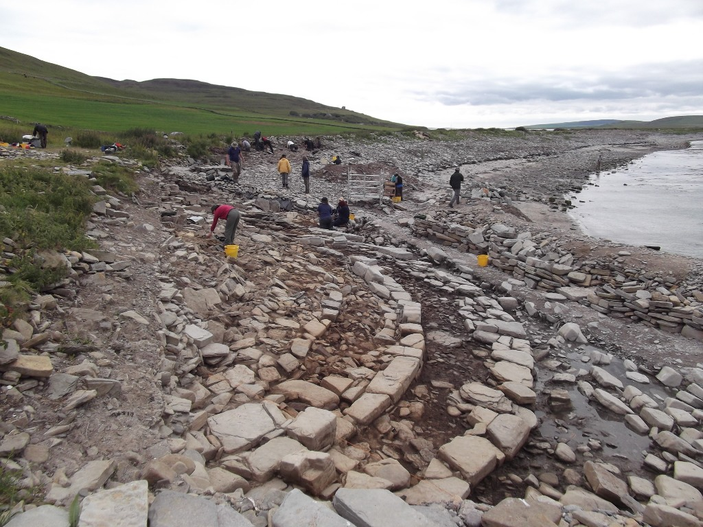 Archaeologists on site at Swandro, Rousay