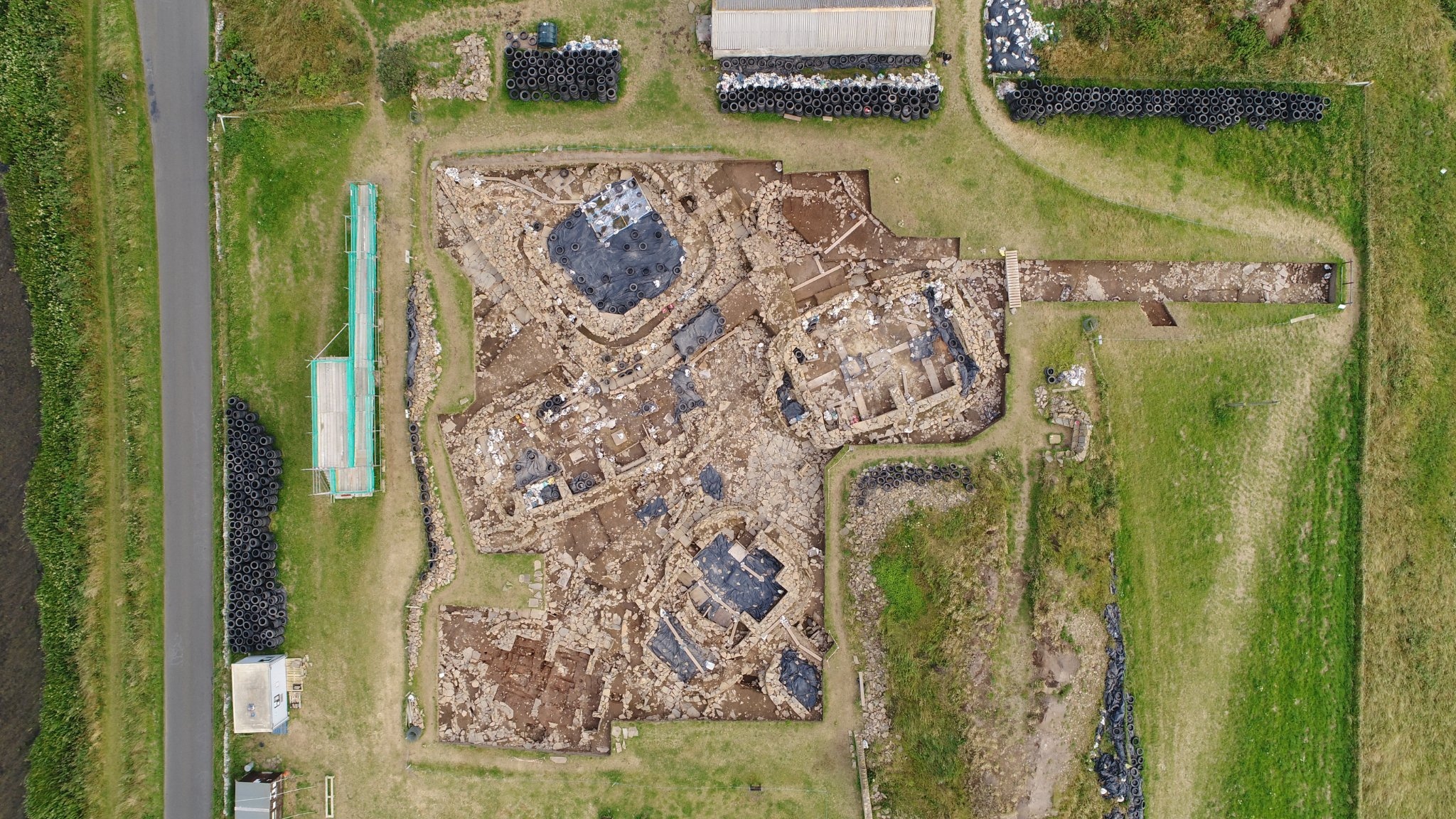 Aerial view of the main excavation at the Ness of Brodgar