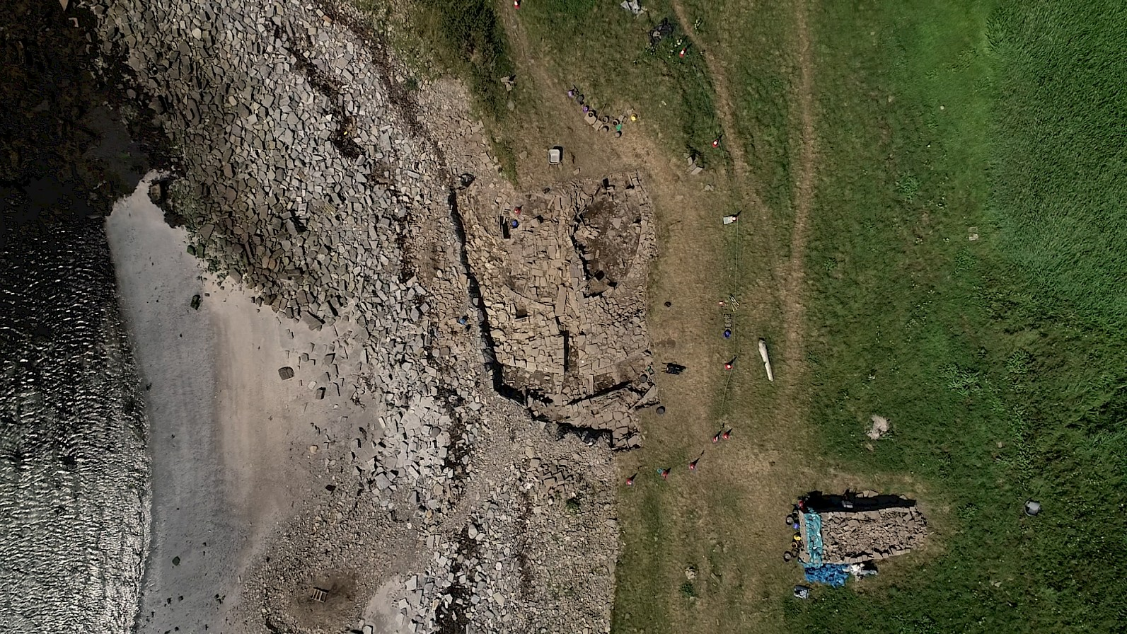 Aerial view of the Swandro dig, Orkney