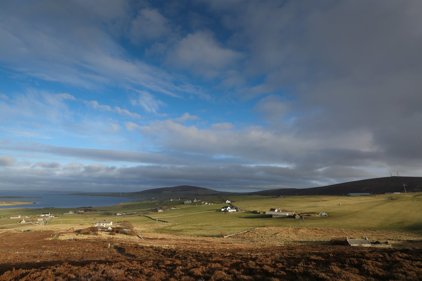 View over Finstown from Cuween Hill, Orkney
