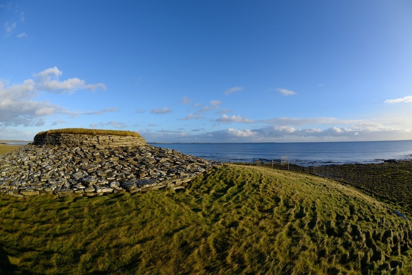 Outside Quoyness Chambered Cairn, Orkney